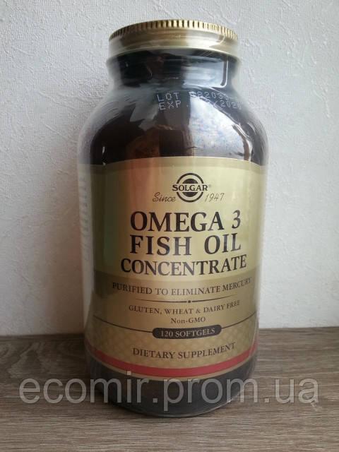Омега-3 рыбий жир, Solgar (160EPA/100DHA, 120 капсул)