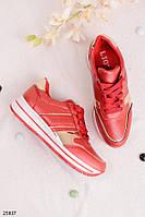 Кроссовки женские красные  с золотистым эко кожа  , фото 1