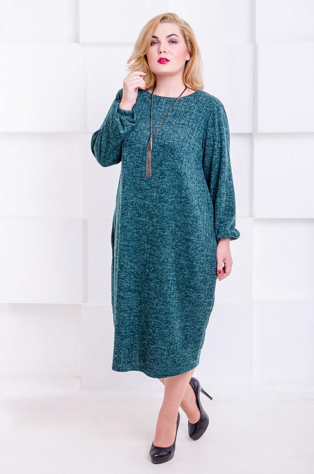 959d38725d4707a Стильное платье с ангоры размер плюс Манго малахит полоса (52-62 ...