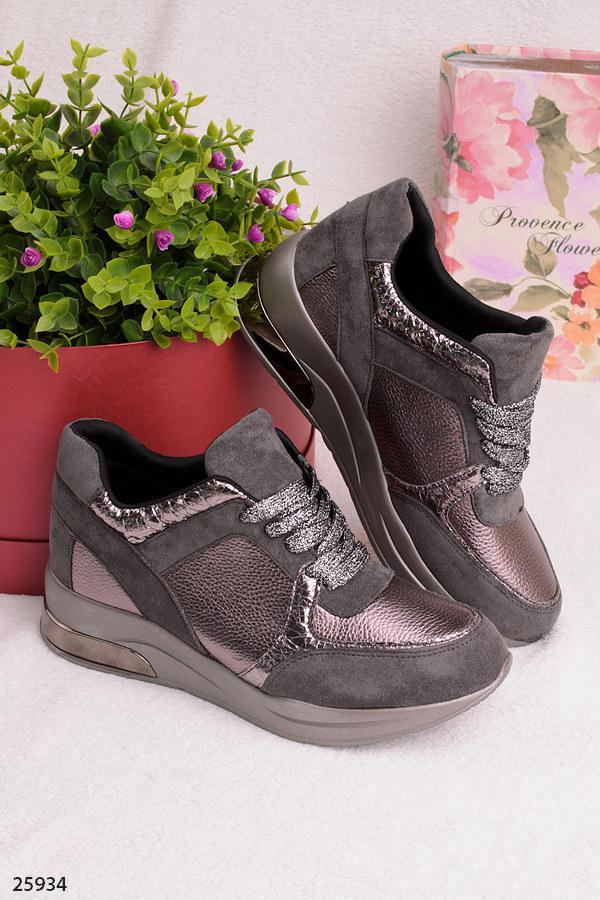 Женские стильные кроссовки серые с бронзовым эко-замша+эко-кожа
