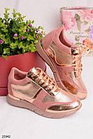 Женские стильные кроссовки розовые с золотом эко-замша+эко-кожа , фото 1