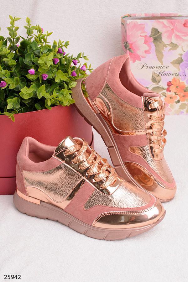 Женские стильные кроссовки розовые с золотом эко-замша+эко-кожа