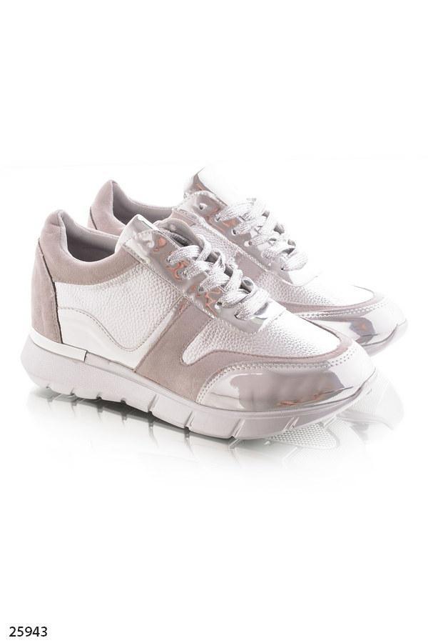 6667e42a7 ... Женские стильные кроссовки серые с серебром эко-замша+эко-кожа , фото 4  ...