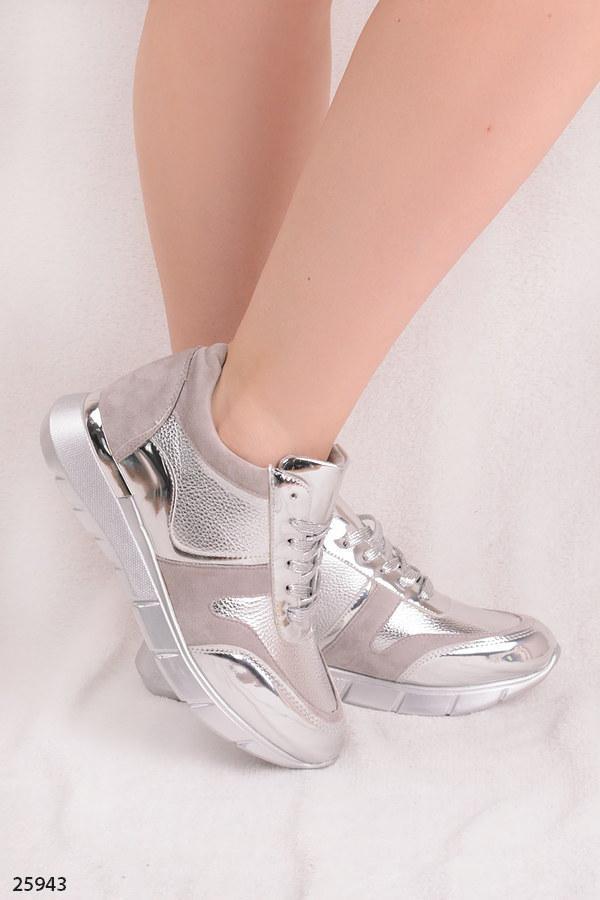1c139b3c0 Женские стильные кроссовки серые с серебром эко-замша+эко-кожа , фото 2 ...