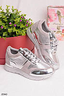 Женские стильные кроссовки серые с серебром эко-замша+эко-кожа , фото 1