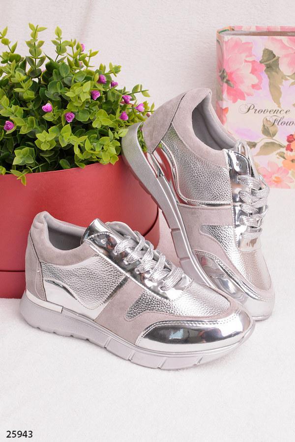 Женские стильные кроссовки серые с серебром эко-замша+эко-кожа