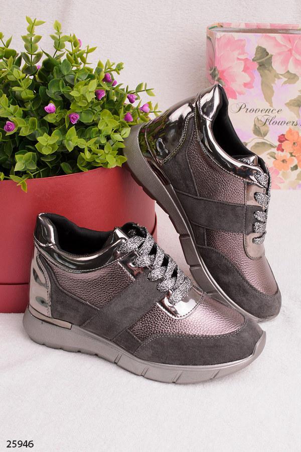 Женские стильные кроссовки бронзовые с серым эко-замша+эко-кожа
