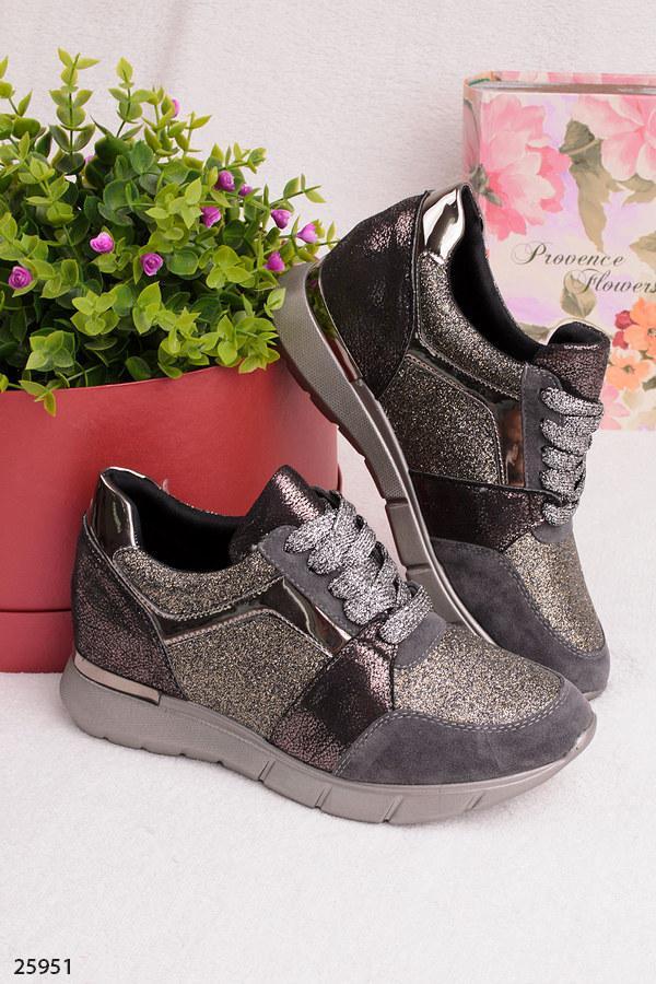 d3053ca81 Женские стильные кроссовки серые с серебром эко-замша+кожа+текстиль блестки