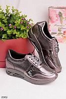 Женские стильные кроссовки бронзовые эко-кожа , фото 1