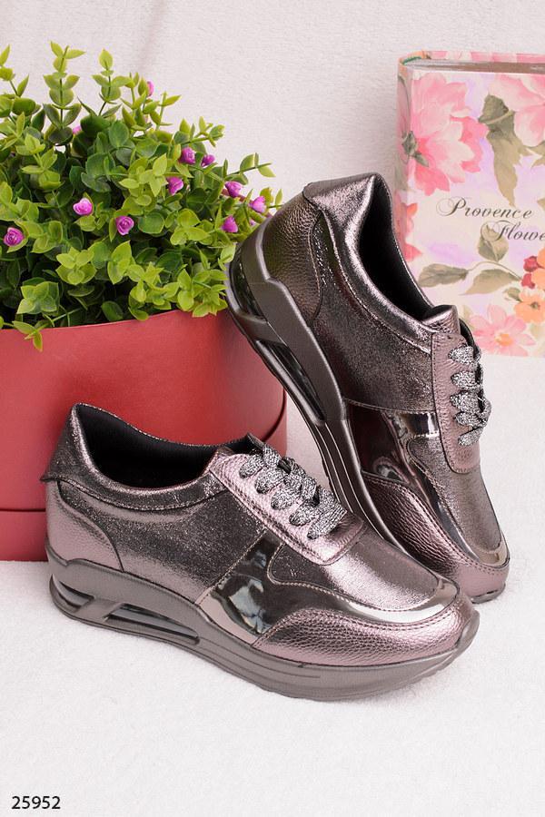 Женские стильные кроссовки бронзовые эко-кожа