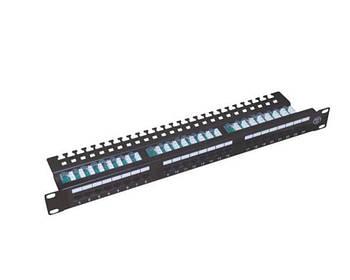"""Патч-панель 19"""" 1U 24 порта, UTP, кат.5е (WT-2126-CAT.5E) с организатором кабеля сзади"""