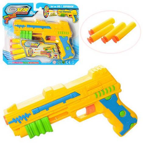 Пистолет 333-2 (96шт) 20см, пули-присоски 4шт, мишень, на листе, 25-21-4,5см