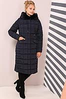 Пальто с высоким воротником-капюшоном с мехом мутона