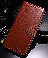 Кожаный чехол-книжка для Xiaomi Mi 8 коричневый