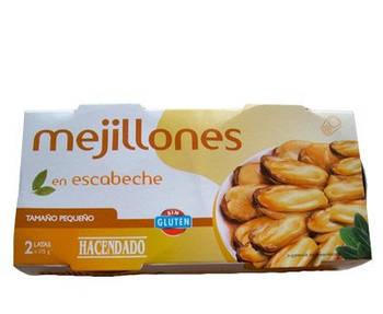 Мидии в томате Hacendado Mejillones en Escabeche, 2х175 г (Испания)