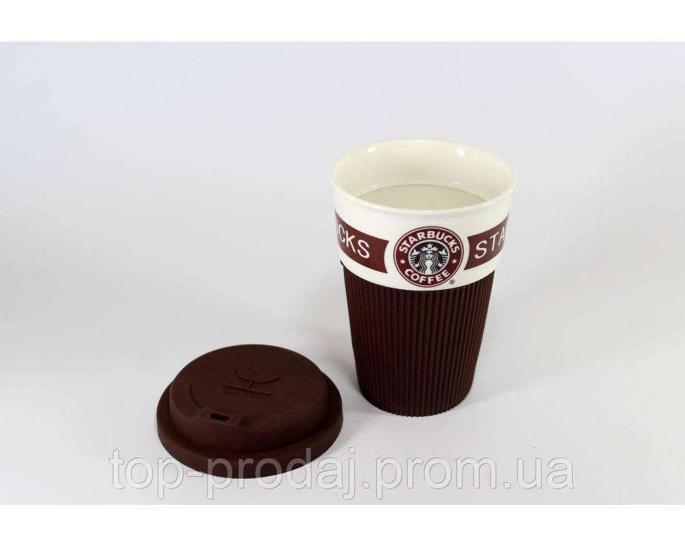 CUP Стакан StarBucks 008, Крушка керамическая с крышкой, Стакан 350мл керамика, Многоразовая чашка