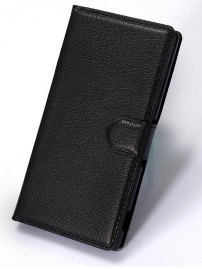 Кожаный чехол-книжка для Sony Xperia Z4 , Z3+ E6533, E6553 черный