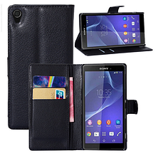 Кожаный чехол-книжка для Sony Xperia Z4 , Z3+ E6533, E6553 черный, фото 3