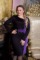 Модное женское платье во вставкой другого цвета по боку и длинным рукавом разные цвета 610