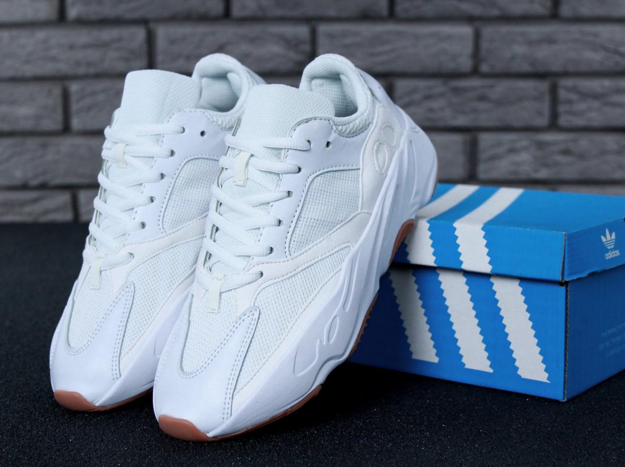 Мужские кроссовки AD Yeezy Boost 700 White, А-д изи буст . ТОП Реплика ААА класса.