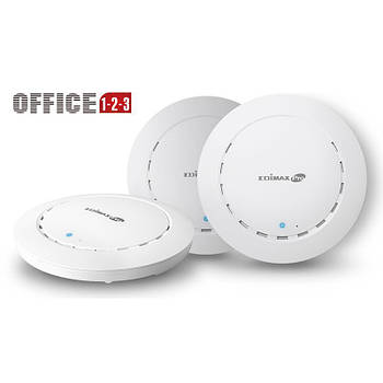 Комплект точек доступа Edimax Office 1-2-3 (3-pack, AC1300, PoE, Ceiling, 1xGE, Wave 2, MU-MIMO, Airtime Fairness, 26dBm)