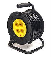 Удлинитель на катушке PowerPlant JY-2002/25 (PPRA10M250S4) 4 розетки, 25 м, черно-желтый