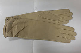 Перчатки женские кожаные беж высокие