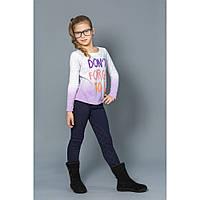 Модные детские брюки для девочек с начесом синие Модный карапуз 03-00559-2