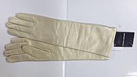 Перчатки женские кожаные высокие бежевые перламутровые, фото 1