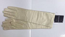 Перчатки женские кожаные высокие бежевые перламутровые