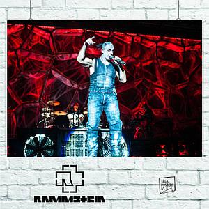 Постер Rammstein, Тилль Линдеманн на красной сцене, Рамштайн. Размер 60x42см (A2). Глянцевая бумага