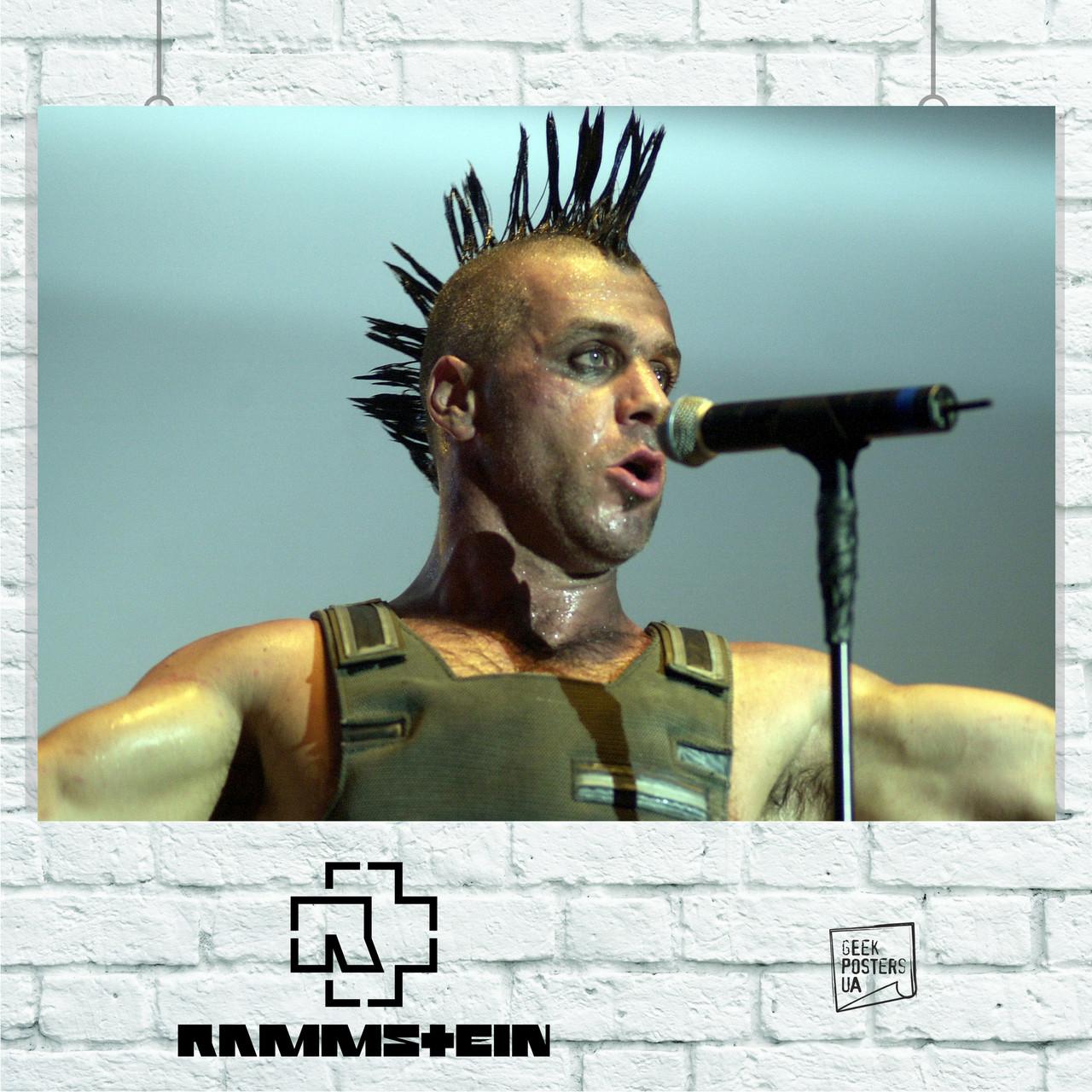 "Постер Rammstein: Тилль с ""ирокезом"", Рамштайн. Размер 60x39см (A2). Глянцевая бумага"