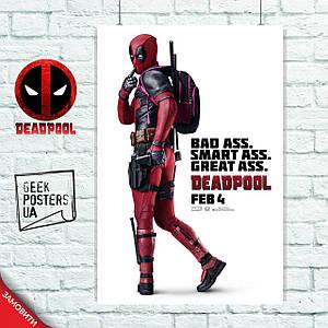 Постер Дэдпул, Deadpool (Smart Ass). Размер 60x42см (A2). Глянцевая бумага
