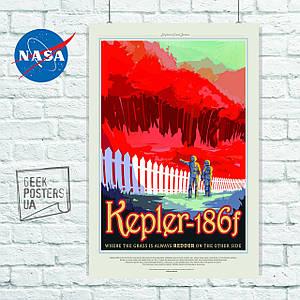Постер NASA, Kepler-186f, экзопланета. Размер 60x42см (A2). Глянцевая бумага
