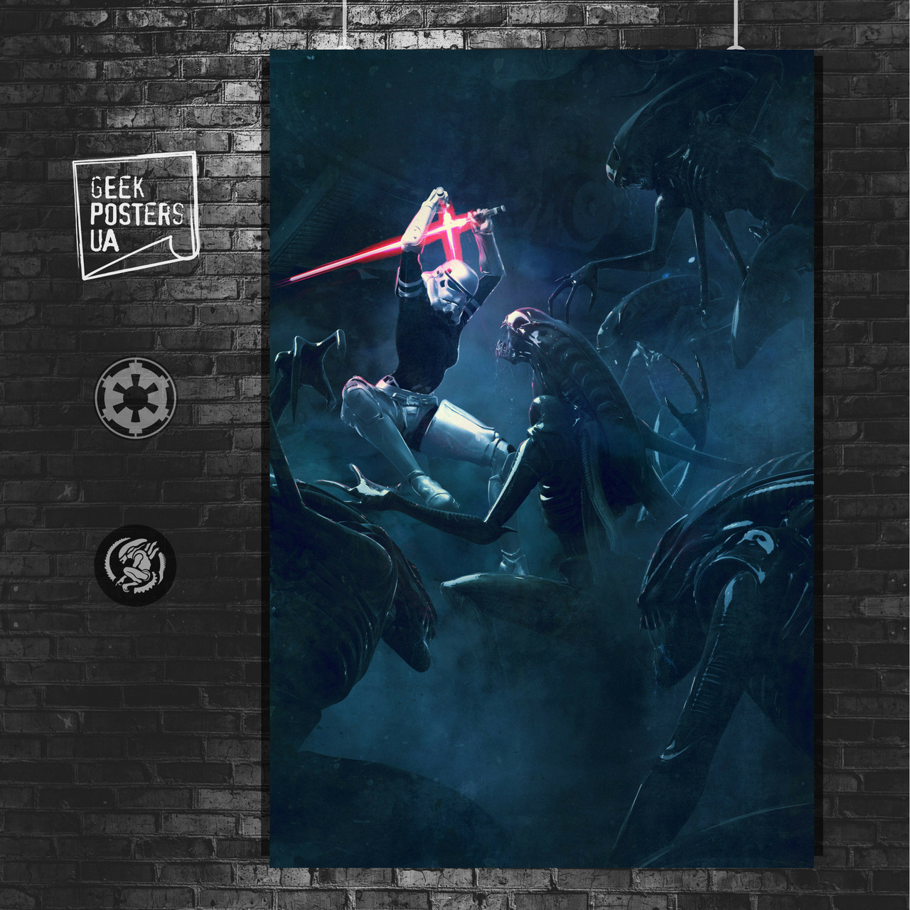 Постер Vader's Fist, штурмовик в прыжке. Размер 60x42см (A2). Глянцевая бумага