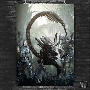 Постер Alien vs Predator, Чужой против Хищника. Размер 60x42см (A2). Глянцевая бумага