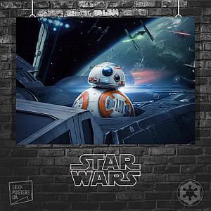 Постер Star Wars: Last Jedi (BB-8 в истребителе). Размер 60x42см (A2). Глянцевая бумага