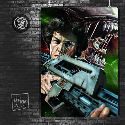 """Репродукция рисунка """"Aliens, Чужие, Рипли с автоматом и ксеноморф. Размер 60x42см (A2). Глянцевая бумага, фото 2"""