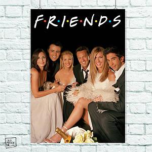 """Постер Свадьба, сериал """"Friends"""", Друзья. Размер 60x42см (A2). Глянцевая бумага"""