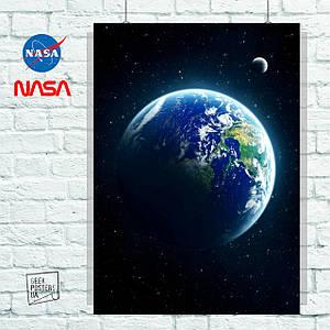 Постер Земля и Луна из космоса. Размер 60x42см (A2). Глянцевая бумага