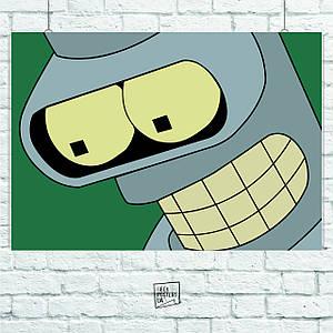 Постер Futurama (Бендер крупный план). Размер 60x42см (A2). Глянцевая бумага