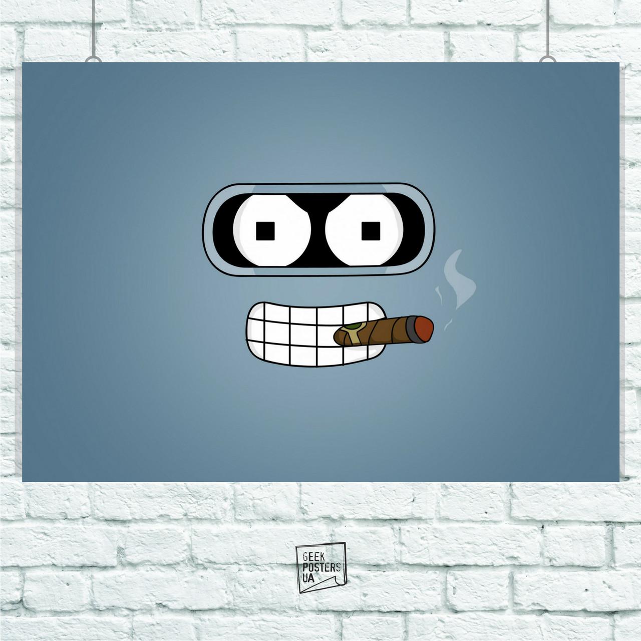 Постер Futurama (лицо Бендера на голубом фоне). Размер 60x42см (A2). Глянцевая бумага