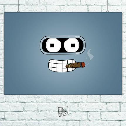 Постер Futurama (лицо Бендера на голубом фоне). Размер 60x42см (A2). Глянцевая бумага, фото 2