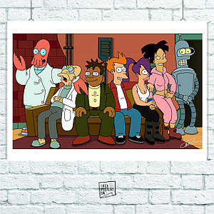 Постер Futurama (все персонажи на диване). Размер 60x42см (A2). Глянцевая бумага