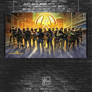 Постер Counter-Strike, CSGO, КС, контра, Контрстрайк. Размер 60x34см (A2). Глянцевая бумага