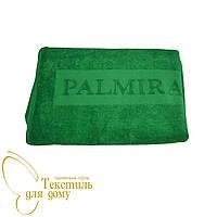 Полотенце банное 70*140, с жаккардовым логотипом, зеленый