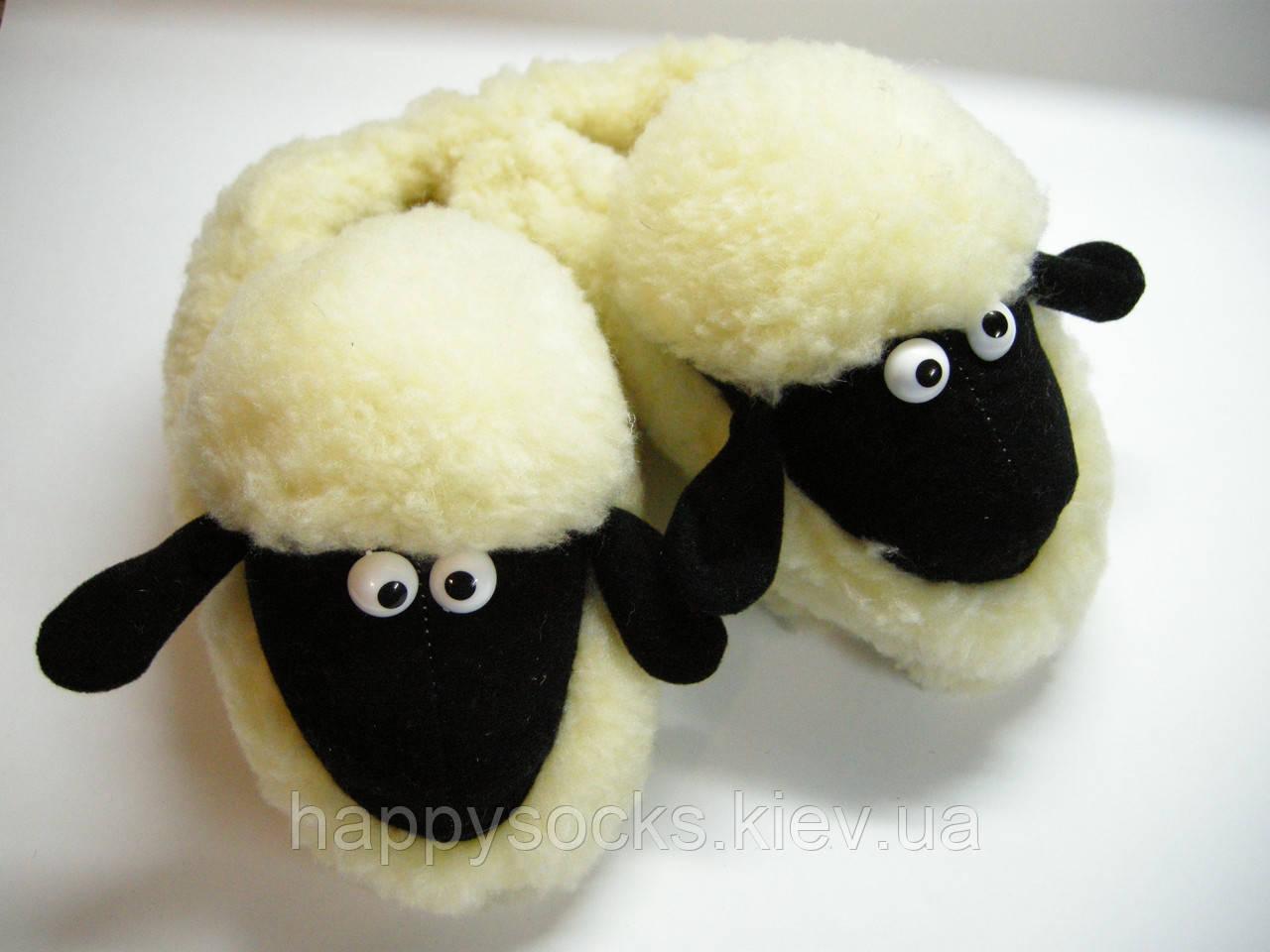 """Тапочки меховые женские """" Овечка"""" из овечьей шерсти"""