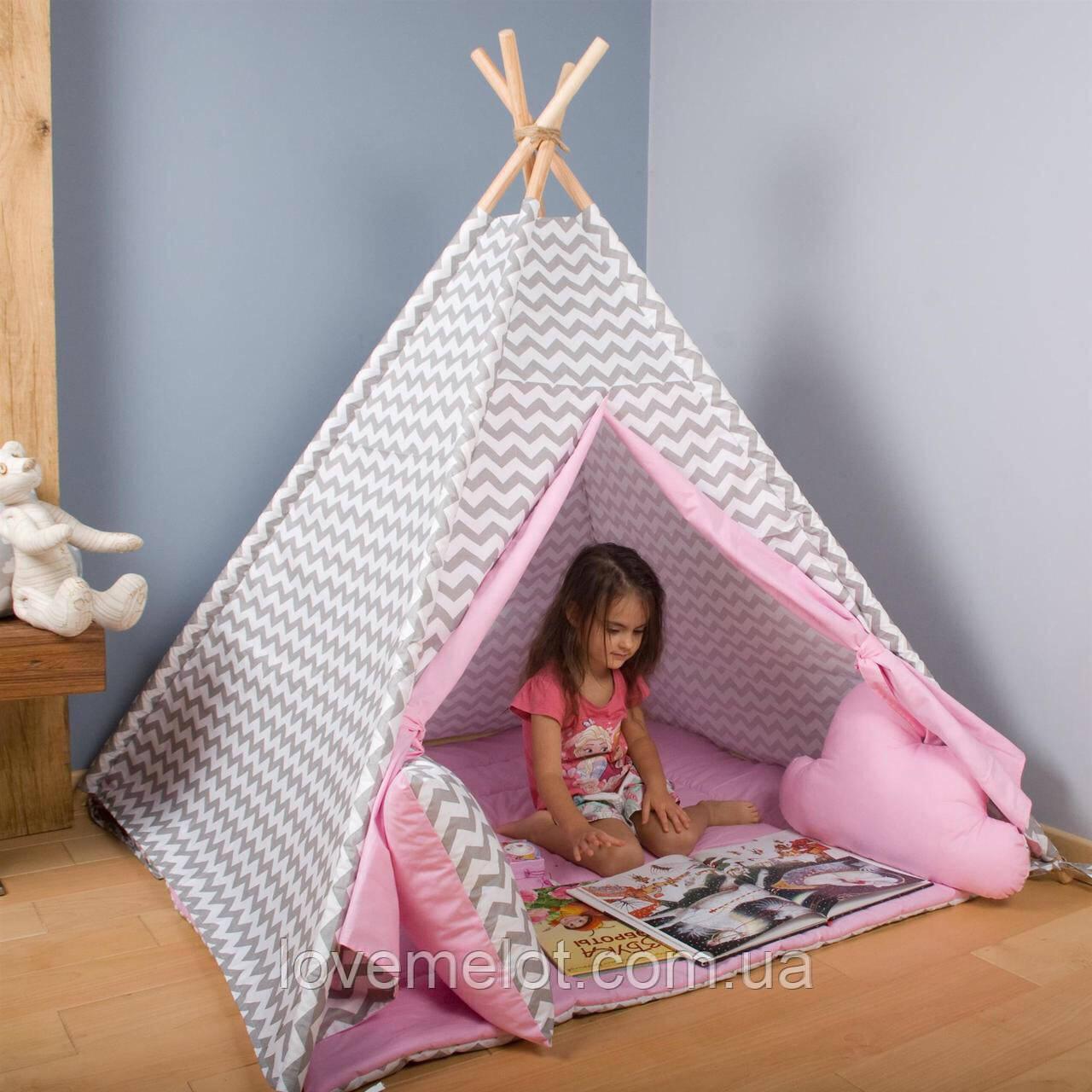 Детская палатка + коврик + 1 подушка, вигвам для детей, шалаш для деток, палатка для детей