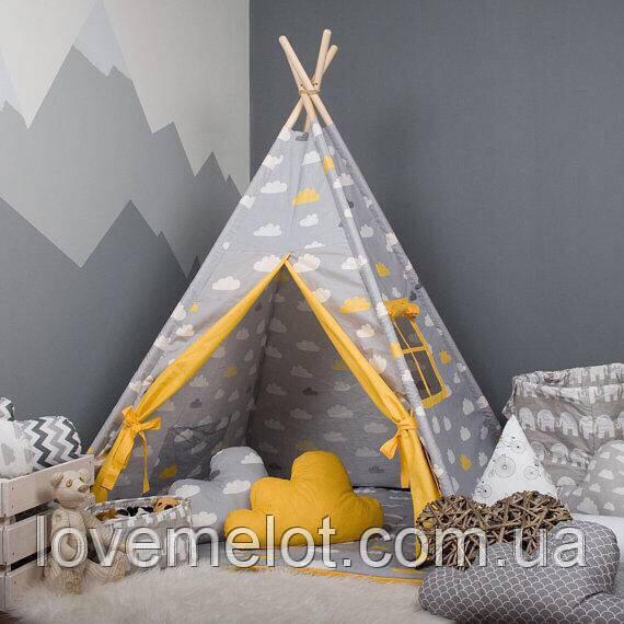 Детская палатка с окном + коврик + 2 подушки, вигвам для детей, шалаш для деток, палатка для детей