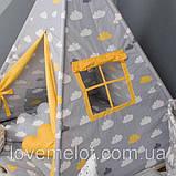 Детская палатка с окном + коврик + 2 подушки, вигвам для детей, шалаш для деток, палатка для детей, фото 2
